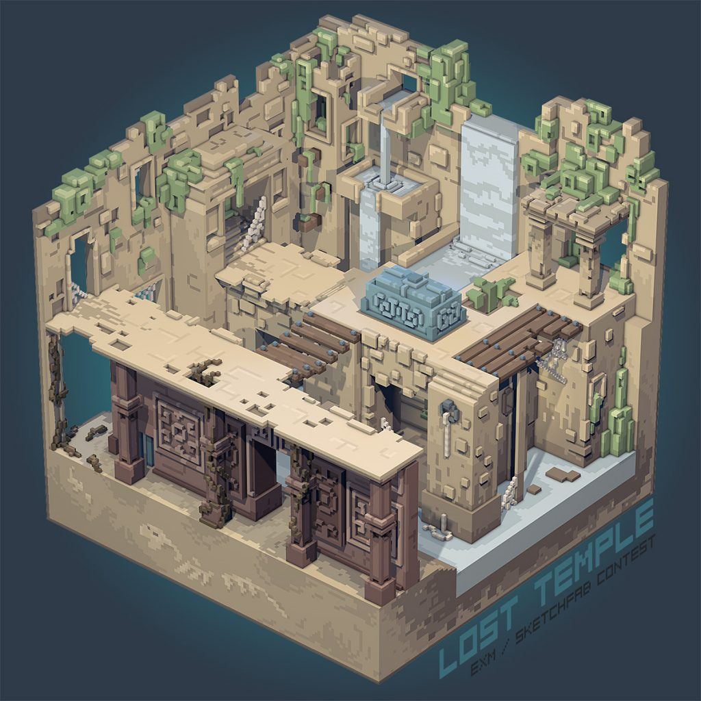 lost voxel temple in ruins