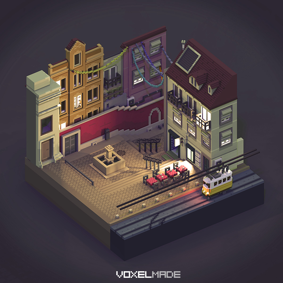 lisbon by night - voxelart
