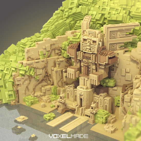 aztec maya temple voxel